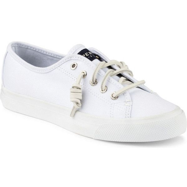 Women's Seacoast Canvas Sneaker in White by Sperry (32.050 CRC) ❤ liked on Polyvore featuring shoes, sneakers, white shoes, white trainers, plimsoll shoes, sperry top-sider shoes and canvas sneakers