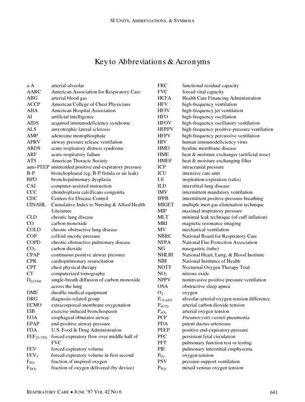 respiratory care standard abbreviations and symbols