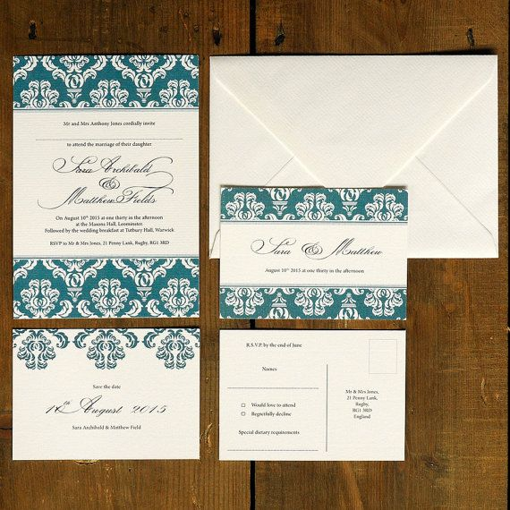 Damask  Art Deco Wedding Invitation & Save the by FeelGoodInvites, £1.49
