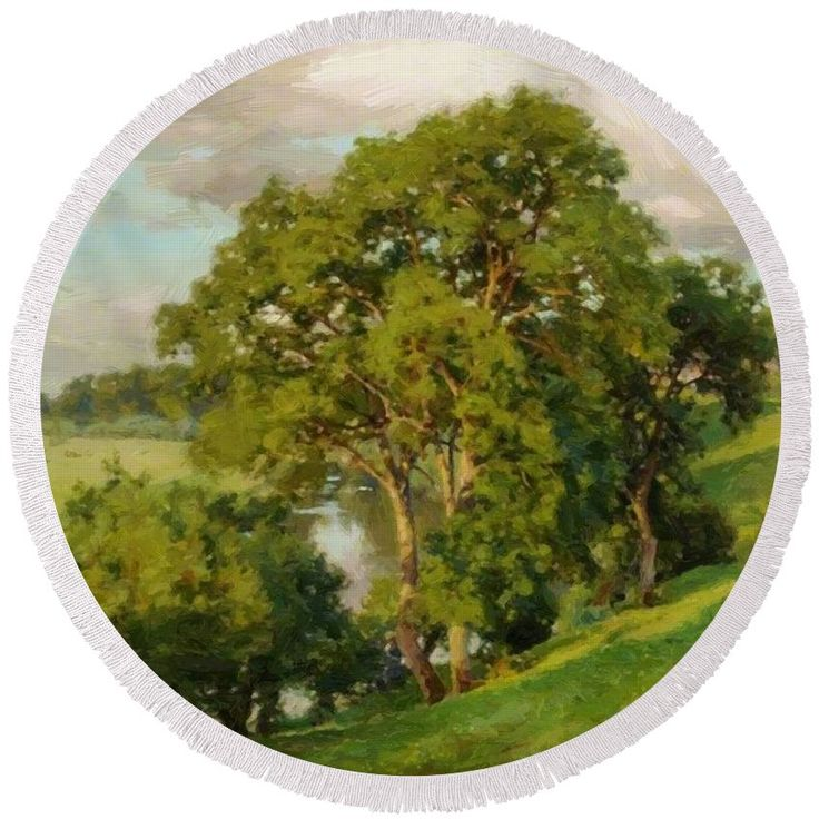 Ash Round Beach Towel featuring the painting Ash Trees At Cropthorne Worcestershire by Parsons Alfred