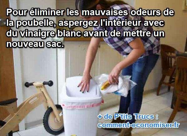 Votre poubelle sent mauvais? S'il y a une chose que je ne supporte pas, c'est qu'une odeur d'ordures émane de ma poubelle. Heureusement, il existe une astuce super simple et rapide pour éviter les mauvaises odeurs de la poubelle. Le truc qui marche à tous les coups, c'est de mettre du vinaigre blanc. Découvrez l'astuce ici : http://www.comment-economiser.fr/poubelle-sente-bon.html?utm_content=buffere3fcf&utm_medium=social&utm_source=pinterest.com&utm_campaign=buffer