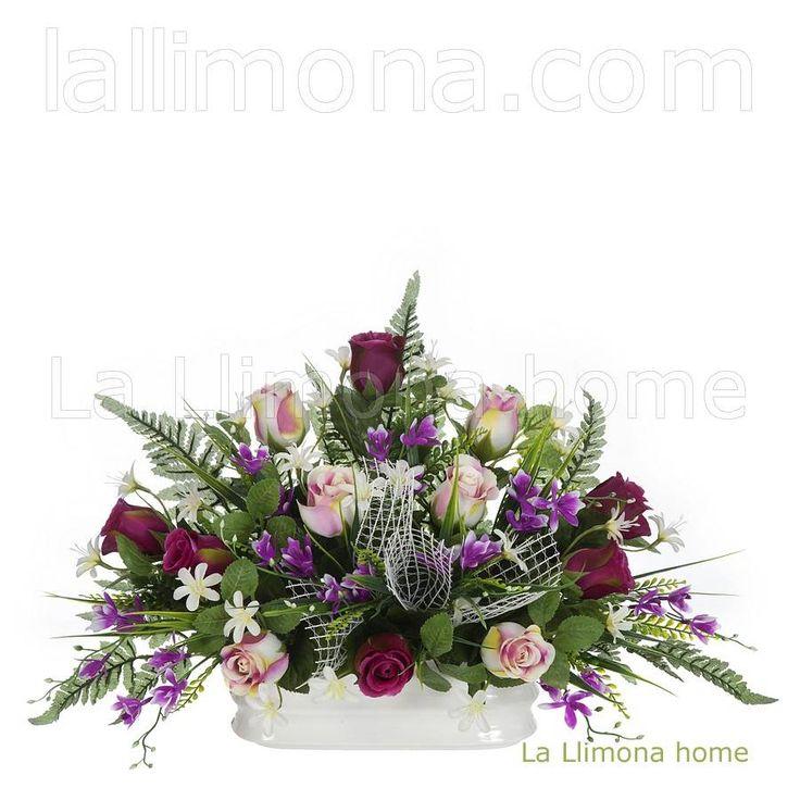 Ramos artificiales cementerios y jardineras Todos los Santos. Jardinera cerámica rosas artificiales malva y bicolor 30