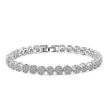 Браслет для невесты - Кристальная россыпь Серебряный с белым камнем