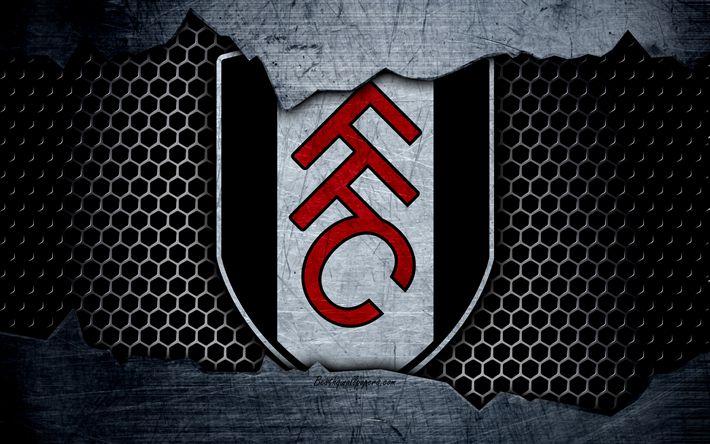 Download wallpapers Fulham, 4k, football, Premier League, England, emblem, Fulham logo, football club, London, UK, metal texture, grunge