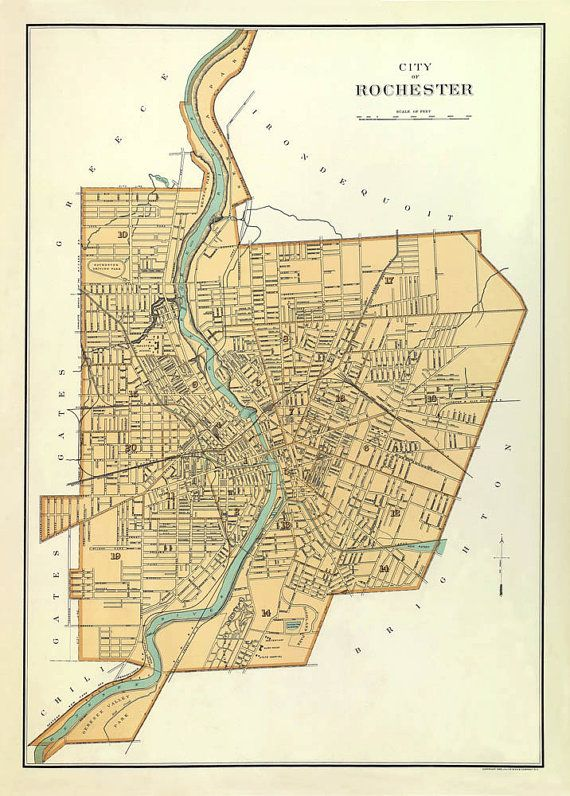 Old map  Antique map  Antique Rochester  NY city by AncientShades, $38.00