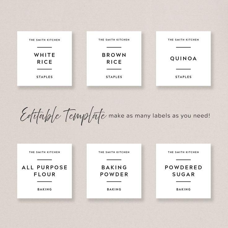 Pantry Label Template Printable Minimalist Pantry Labels Etsy In 2021 Pantry Labels Template Label Templates Pantry Labels