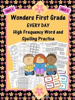 Here are over 100 fantastic resources to review and reinforce the spelling words and high frequency words in the First Grade Wonders Reading Series by McGraw Hill- UNIT 1.  After using the series I realized I wanted more challenging and fun ways for my students to practice both the spelling and high frequency words.