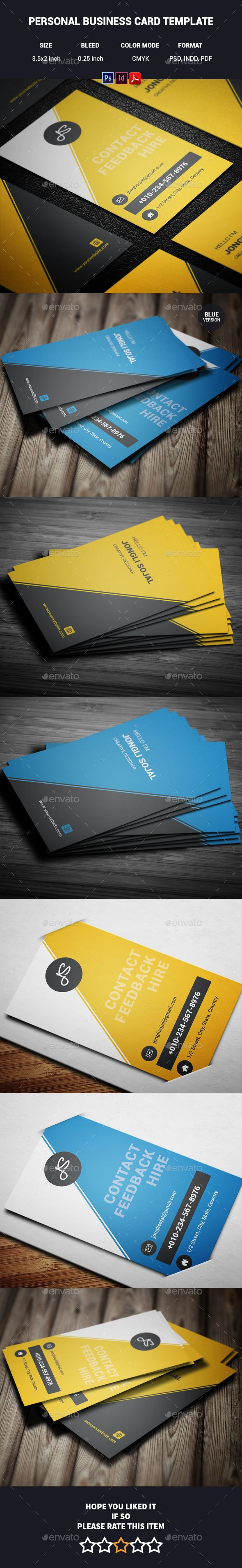 Personal Business Card Template — Photoshop PSD #business card #yellow • Available here → https://graphicriver.net/item/personal-business-card-template/14264682?ref=pxcr