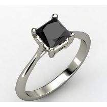 Anillo Con Diamante Negro Natural Princess De 1.13 Cts.