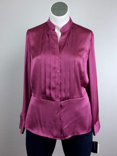NWT Jones New York 2X Fuchsia Rose Pink Button Tux Shirt Silk Blouse Plus Size #JonesNewYork #ButtonDownShirt