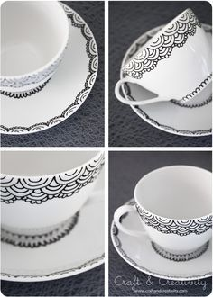 Handpainted cup and saucer - by Craft & Creativity