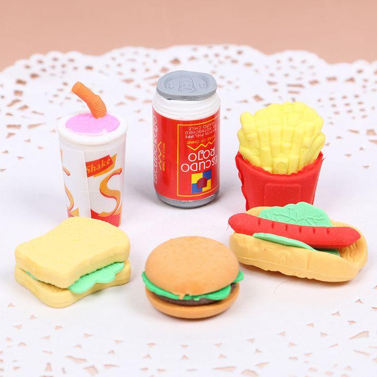 6 Pcs/Set Cute Kawaii Hamburger Food Drink Cola Rubber Eraser Set School Office Erase Supplies Kids Gifts