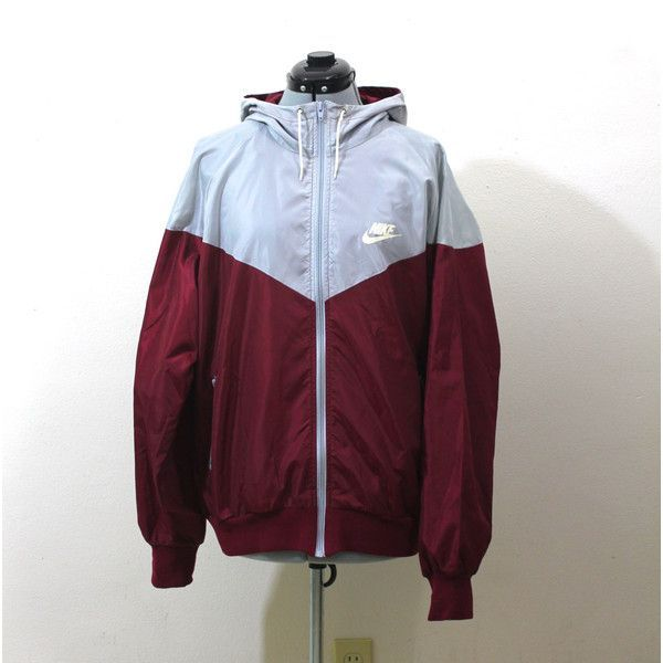 Vintage Retro Nike Maroon and Grey Windbreaker Track Jacket Blue Tag ($23) ❤ liked on Polyvore featuring activewear, activewear jackets, nike, tracksuit jacket, vintage track jacket, nike sportswear and vintage sportswear