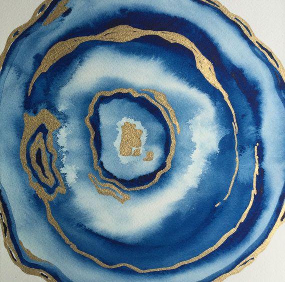 Original watercolor agate painting