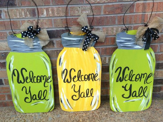 Welcome Yall Mason Jar Door Hangers & 22 best Mason Jar Door Hangers images on Pinterest | Burlap door ...