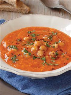Turkish tarhana soup  with chickpea - Traditional Turkish Cuisine Classic.