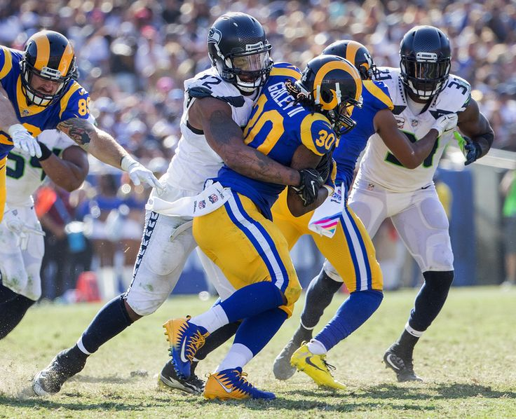 Michael Bennett (72) and the Seahawks defense kept Rams running back Todd Gurley (30) largely in check. (Mike Siegel/The Seattle Times)