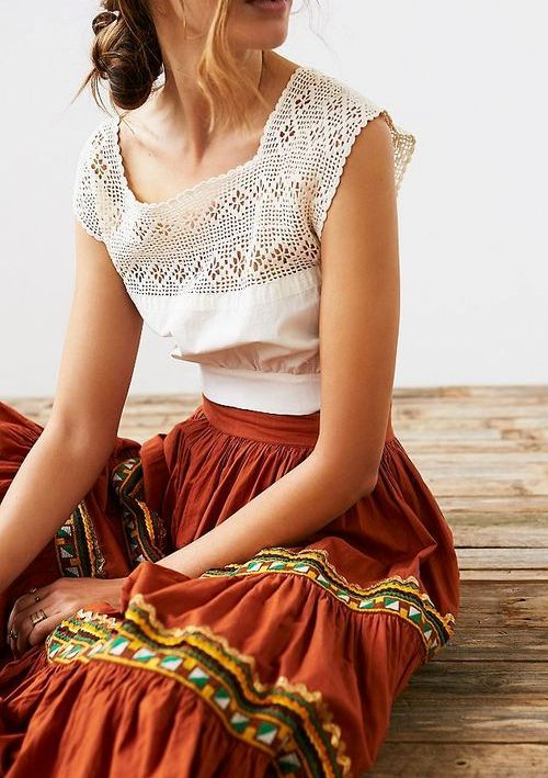Lovely and boho blouse and skirt