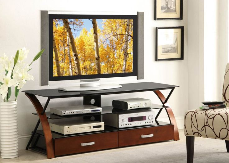 Entertainment Centers :: TV Stands :: TV Stands Contemporary TV Console  With Black Glass By Coaster Furniture