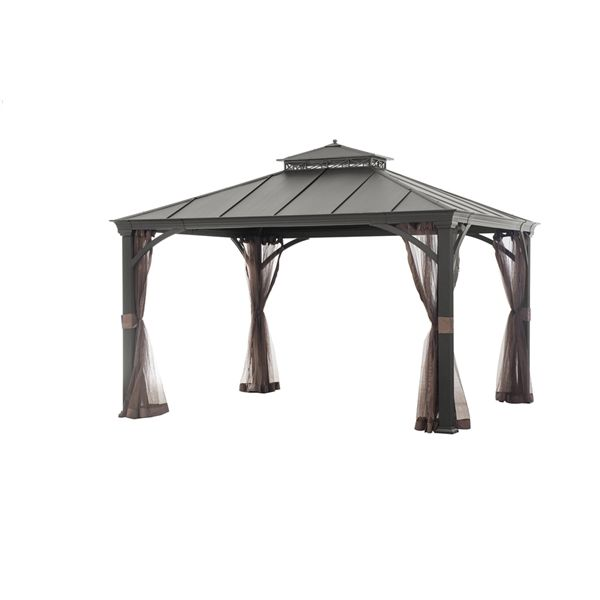 Shop allen + roth  12-ft x 10-ft Black Hardtop Gazebo at Lowe's Canada. Find our selection of gazebos at the lowest price guaranteed with price match + 10% off.