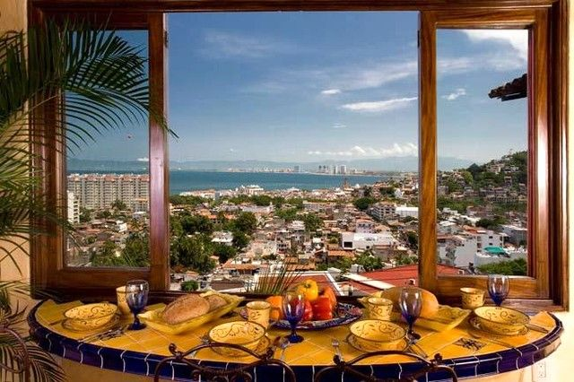 The breakfast bar features gorgeous views of Bandaras Bay, Puerto Vallarta