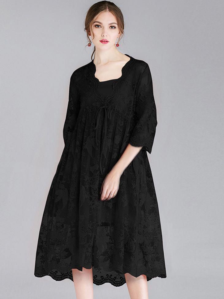 fc476883bb Scalloped Lace Cocktail Dress  longsleevecocktaildresses