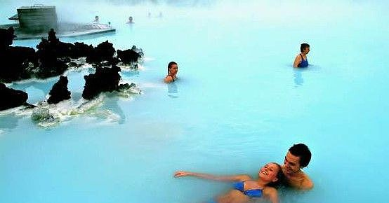 Iceland has been used as the backdrop for science fiction films like Prometheus due to the country's alien beauty, and the Blue Lagoon adds to its otherworldly vibe.  Source: Courtesy of graziwidman via Pinterest