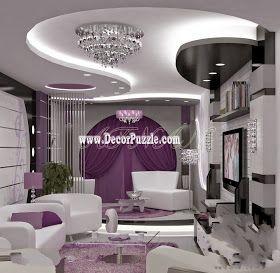 contemporary pop false ceiling design with led lights for living room interior