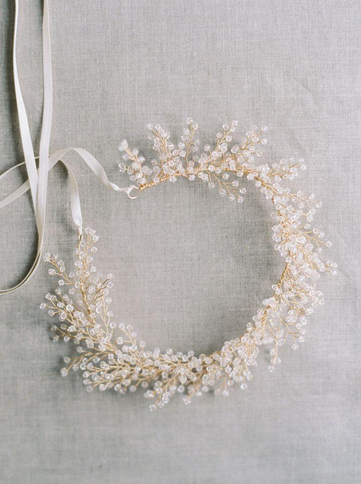 Bridal Crown, Crystal Astilbe Flower Crown, Crystal Crown, Bridal Headpiece, Bridal Halo