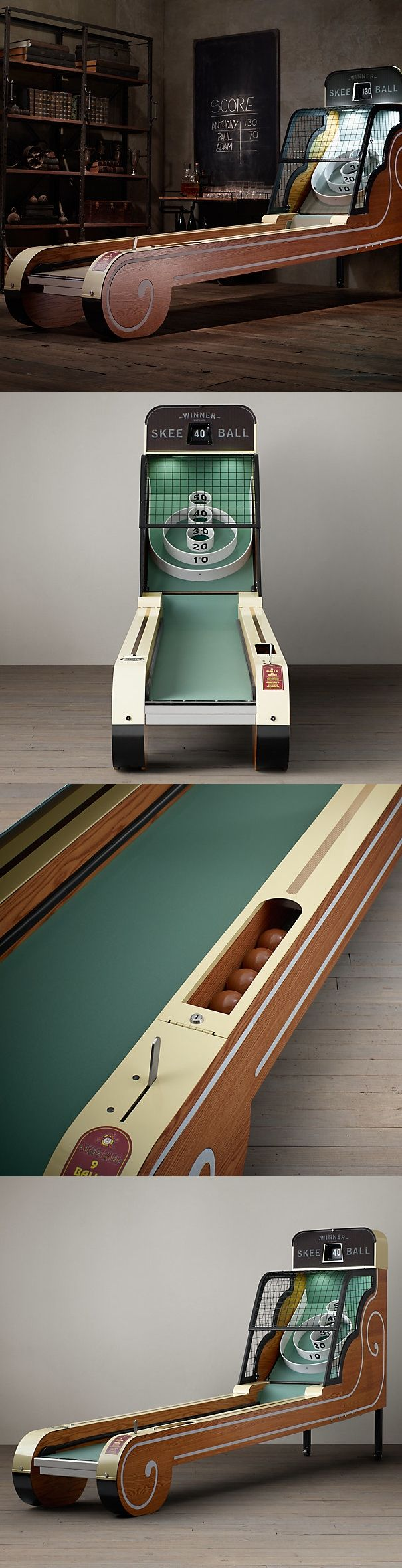Vintage Skeeball from Restoration Hardware ($7000) - Retro oak exterior with state-of-the-art functionality, boasting an authentic flip display and pull-handle activation lever.