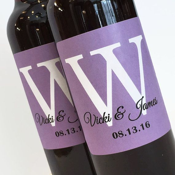 Single Monogram Mini Wine Bottle Labels for wedding favor or bridal shower favor - choose your colors -custom wine labels - sheet of 12