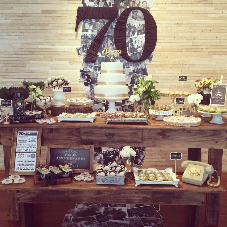 70th birthday - men's party - aniversário masculino de 70 anos com as memórias da família como tema central