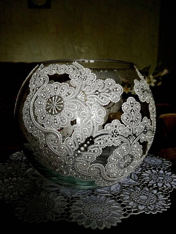 Wedding Gift Hand Painted Flower Glass Vase Lace Design Room