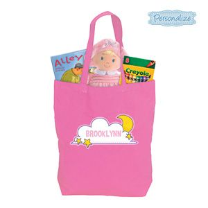 """Product # DC46914 - Give kids their very own bag that's perfect for toting to sleep-overs, camping or a night at Grandmas! Brightly coloured natural cotton bag has loads of room for PJs, books, toothbrush and more. Personalization: Name, up to 10 characters. 16-1/2""""H x 11""""L x 3-1/2""""W.   $9.98"""