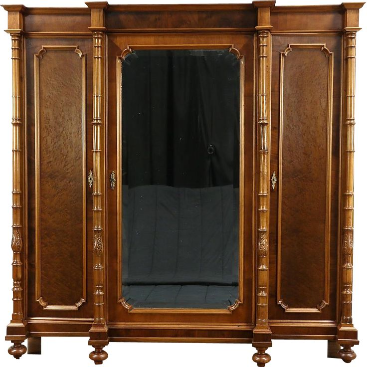 Italian 1900 Antique Walnut Triple Armoire, Wardrobe or Closet, Beveled Mirror