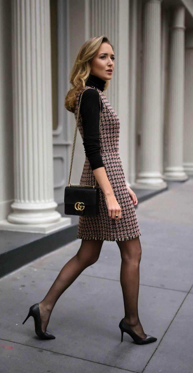 30 KLEIDER IN 30 TAGEN: Kundentreffen // Tweed Fit und Flare Houndstooth Kleid, ...
