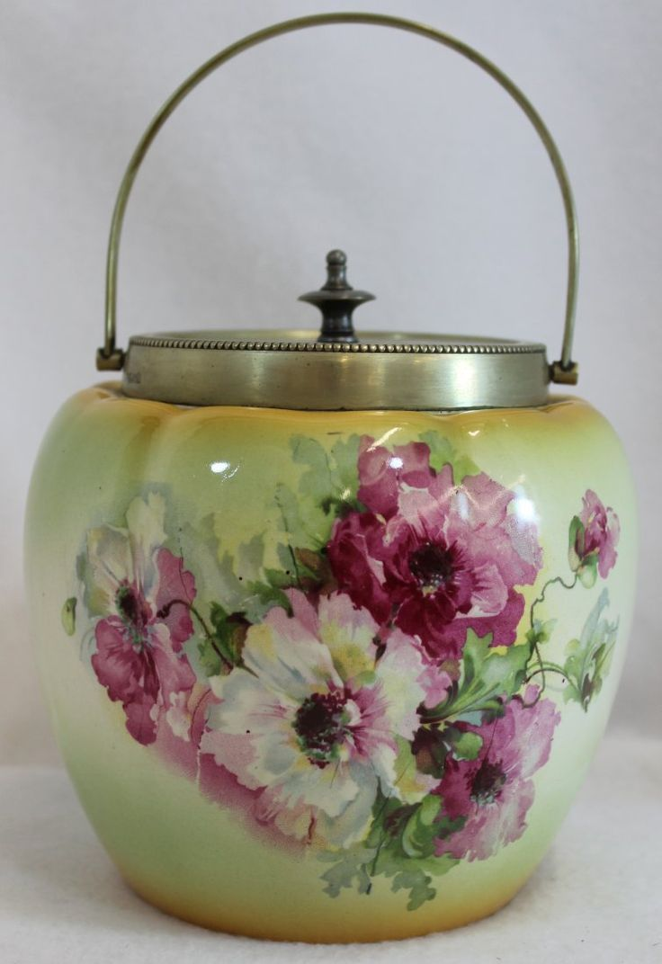 Biscuit Barrel -- 1930's English Porcelain Biscuit Jar featuring floral transfer pattern