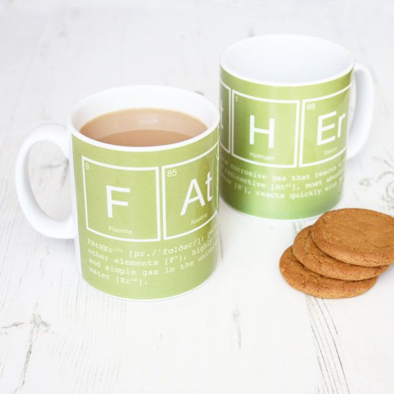 Elements of a Father Mug. Funny Green mug. door NewtonAndTheApple