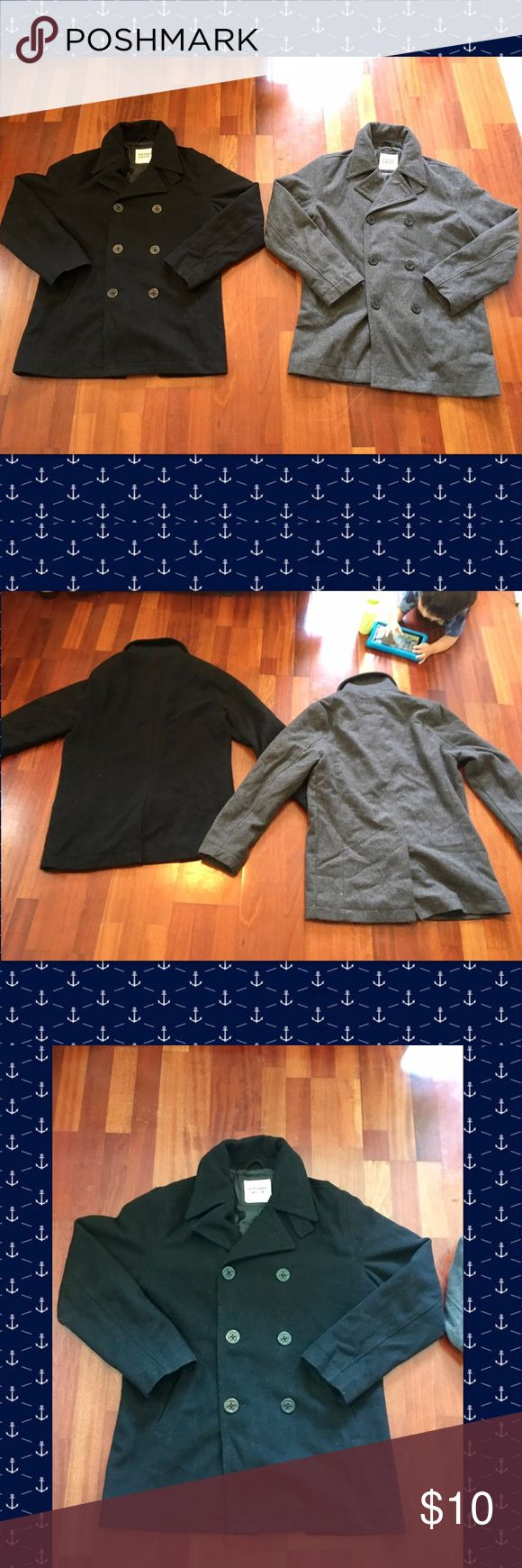 Men's Peacoats A set of men's peacoats. Black and grey peacoats double breasted wool polyester blend. Has large anchor ⚓️ buttons and front pockets. Both coats have a seam rip under the left armpit, otherwise still in good condition. Old Navy Jackets & Coats Pea Coats