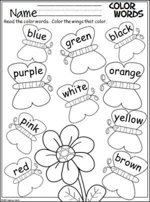 Colors vocabulary coloring page with butterflies and flower.