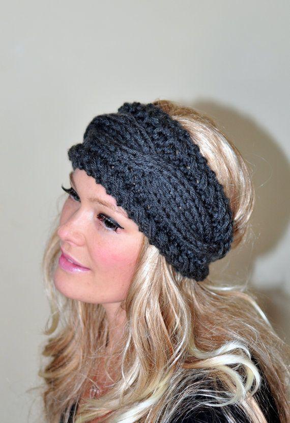 Cabled Headband Earwarmer Braided Crochet Headband Headwrap Ear warmer Crochet Knit CHOOSE COLOR Dark Gray Grey Hat Cozy Winter Girly Gift