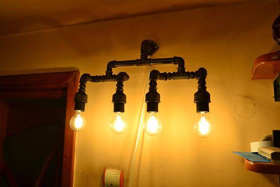 Muur pijp lamp industriële ijdelheid licht badkamer licht