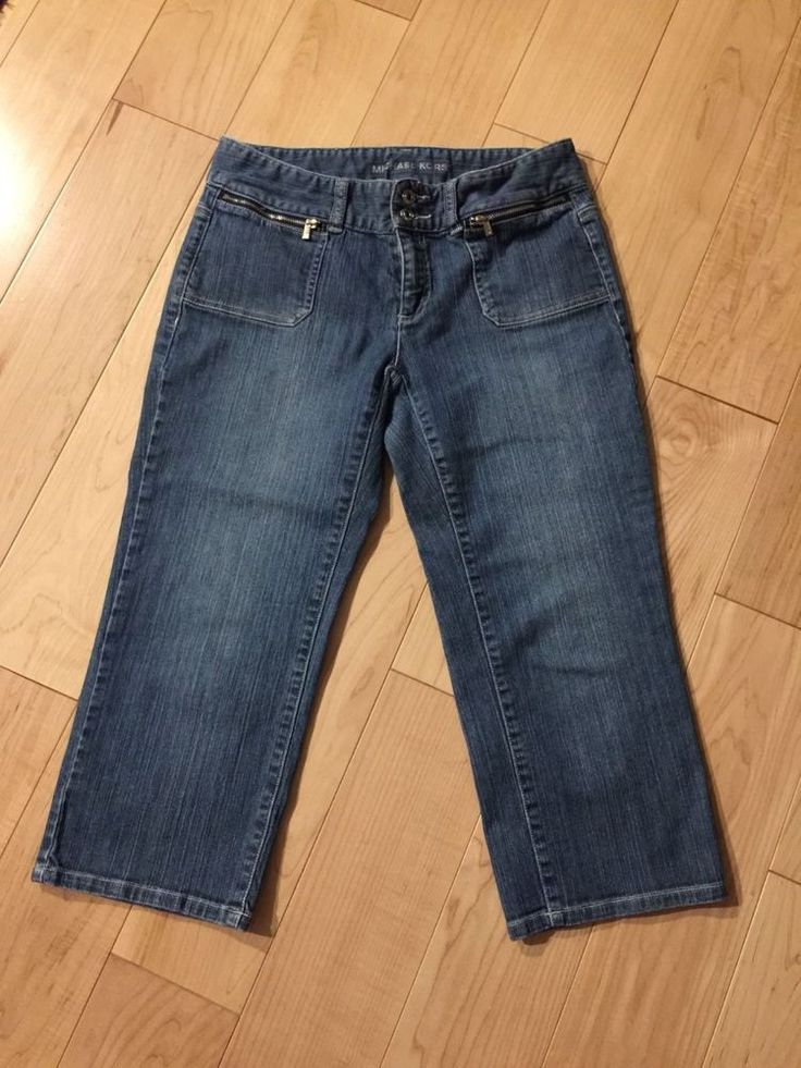 $9.99 Michael Kors Women's Sz 4  Blue Denim Capri Cropped Jeans Pants Stretch #MichaelKors #CapriCropped