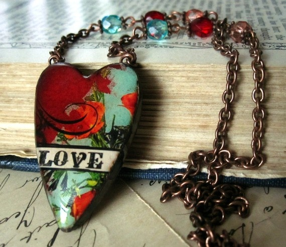 Polymer clay heart. Irene's jewelry designs are gorgeous. This is one of my fav's.