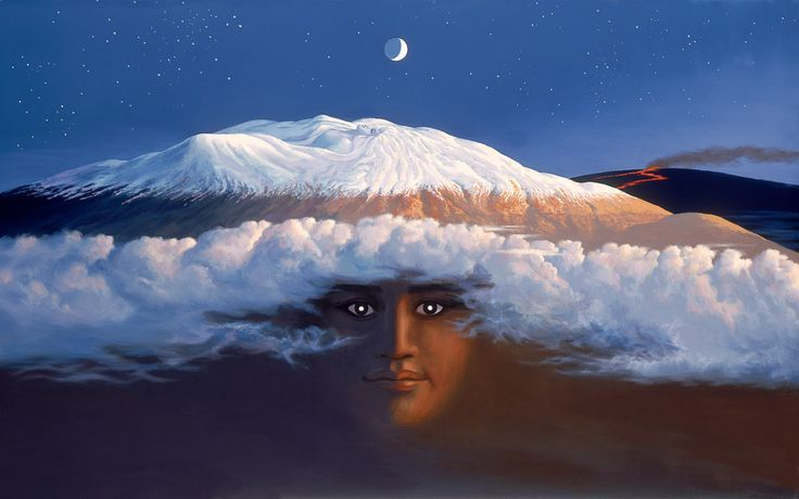 In Hawaiian mythology, Poliʻahu is one of the four goddesses of snow, all enemies of the volcano goddess, Pele. Poli'ahu was thought to reside on Mauna Kea, which if measured from the seafloor is the world's tallest mountain.