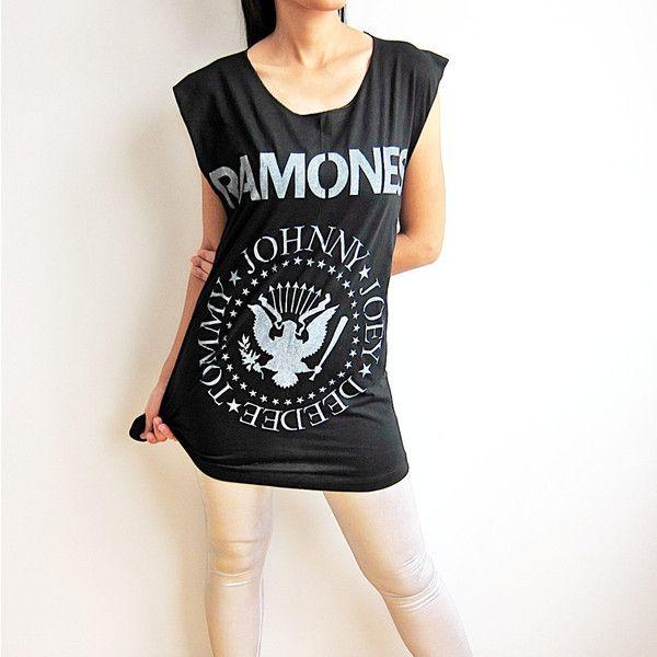 RAMONES T Shirt Johnny Joey ramones Garage Band Punk Rock TShirt Tank... ($14) ❤ liked on Polyvore featuring tops, sleeveless t shirt, sleeveless tshirt, vest tank, vest tops and punk rock vest