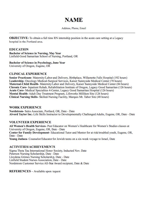 925 best Example Resume CV images on Pinterest Resume - graduate nurse resume example
