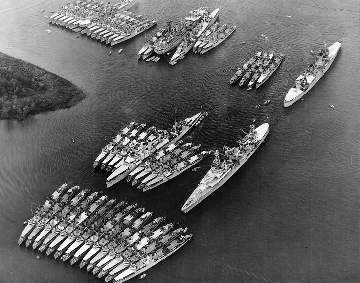 A panoramic aerial view of US Navy destroyers and cruisers in Balboa Harbor, Panama Canal Zone, April 1934 (USN photo).