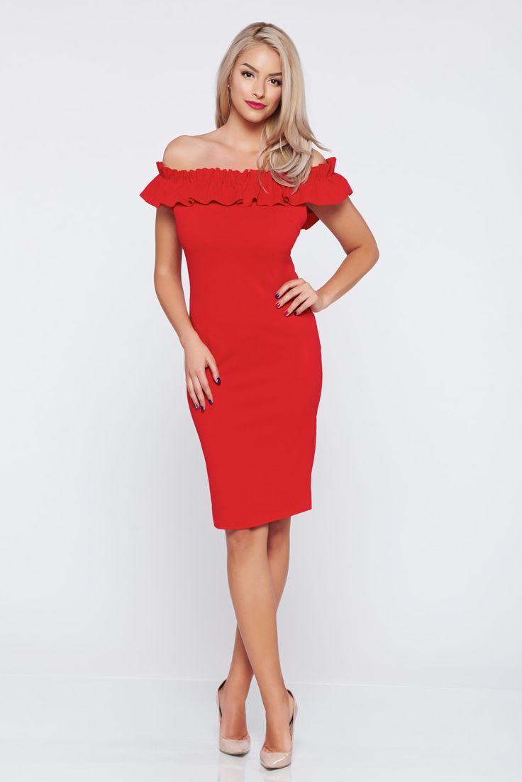Comanda online, Rochie fara maneci pe umeri rosie din material elastic. Articole masurate, calitate garantata!