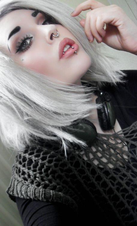 Silver hair and piercings